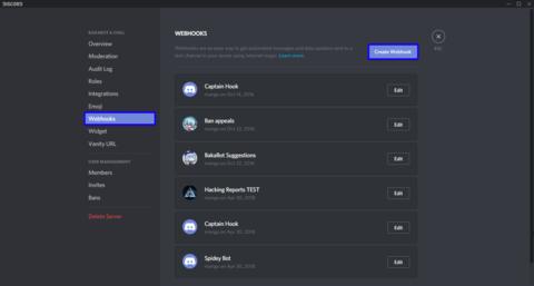 Create a new Webhook.